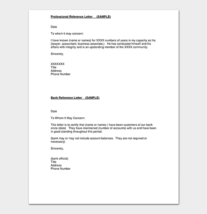 Bank Account Opening Professional Reference Letter