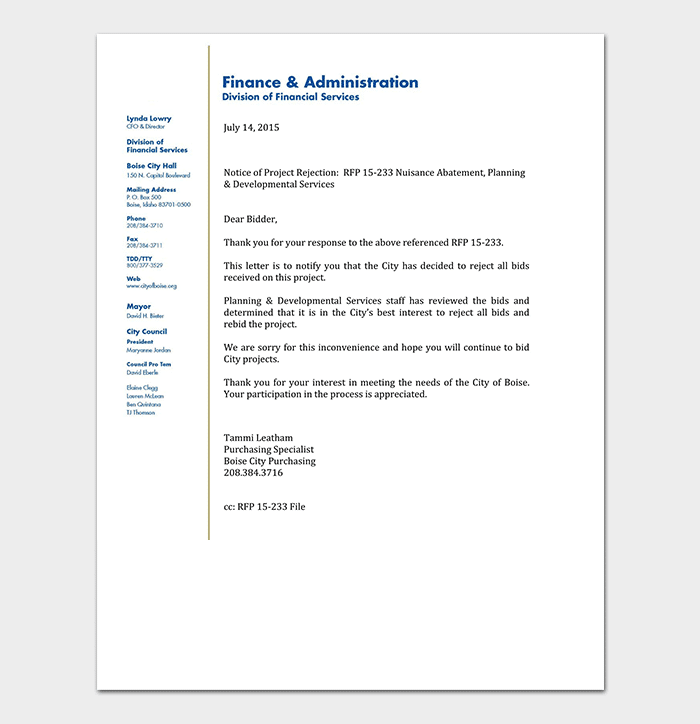 Bid Thank You Rejection Letter