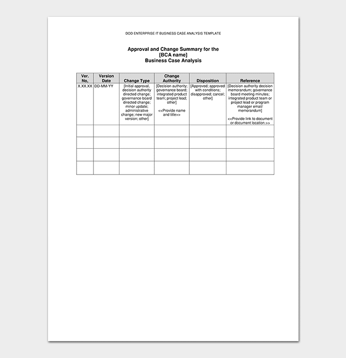 Business Case Analysis Template