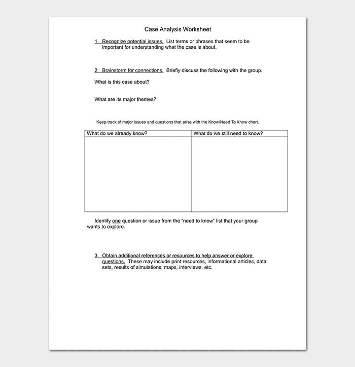 Case Analysis Worksheet