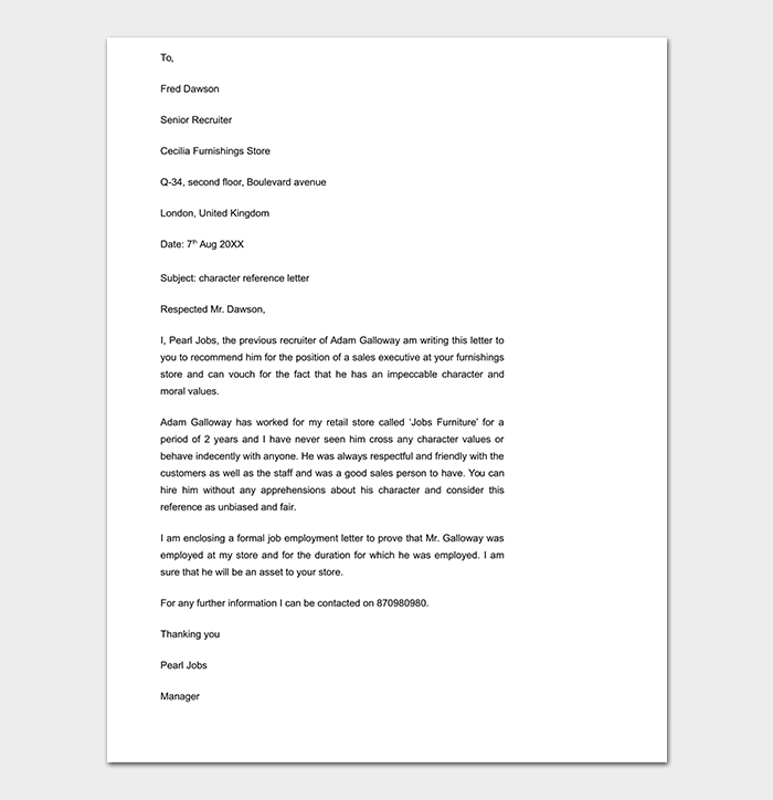 Work Reference Letter 15 Free Samples Examples Formats