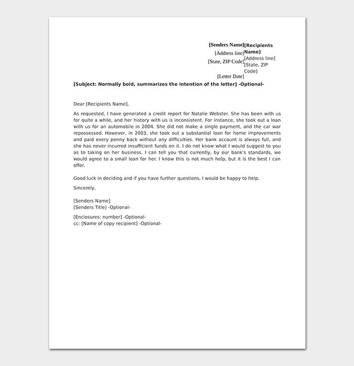 Client Credit Reference Letter