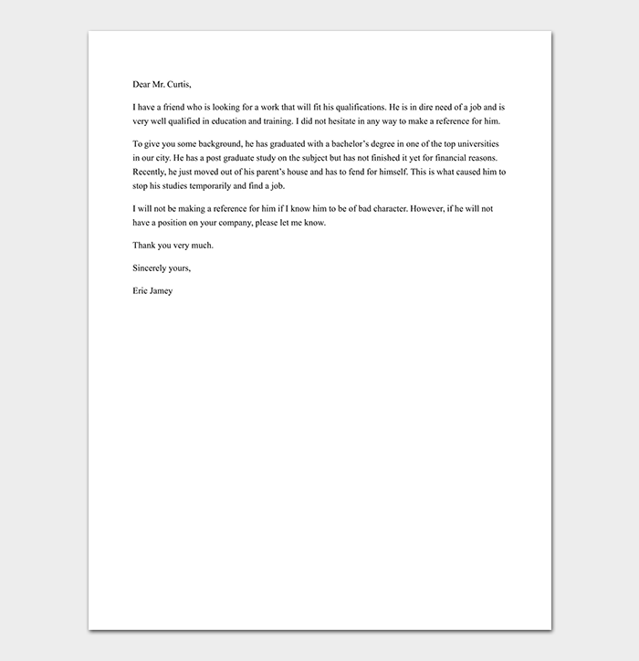 Reference Letter For Friend Tips With Format Sample Letters