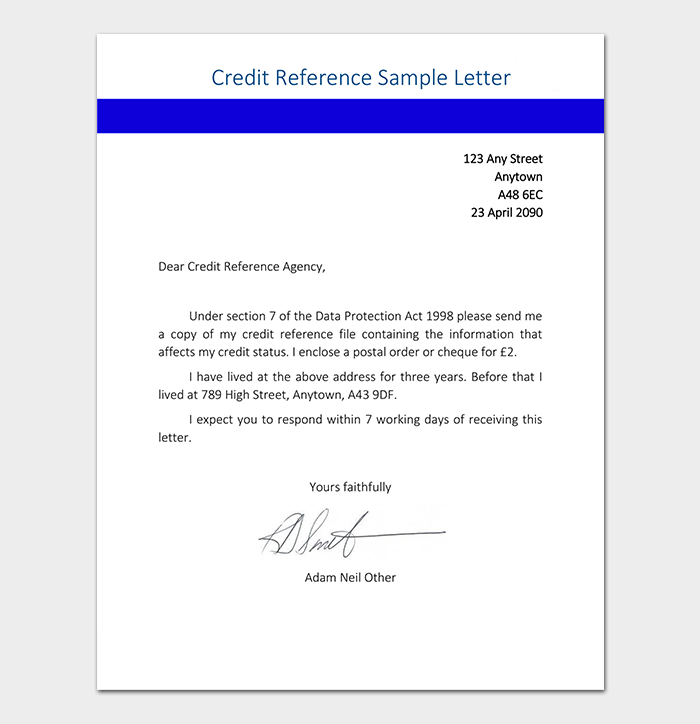 Credit Reference Letter Sample