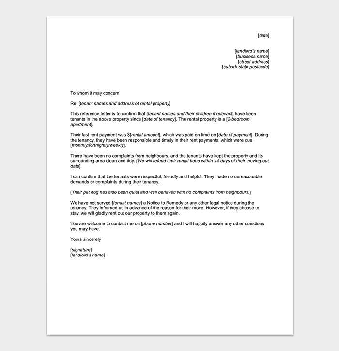 Credit Reference Letter from Landlord