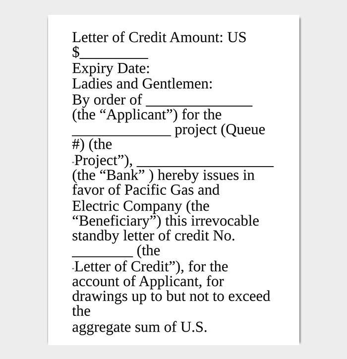 Credit Reference Letter from Utility Company WORD