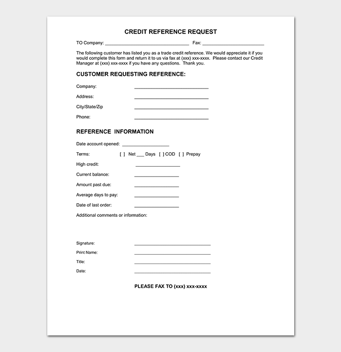 Customer Credit Reference Letter