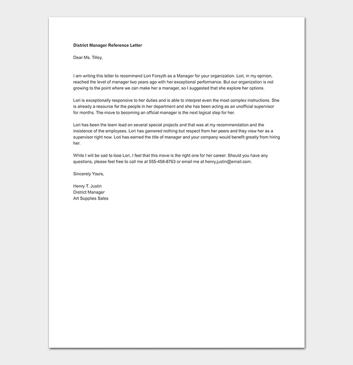 Manager reference letter format sample letters expocarfo Choice Image