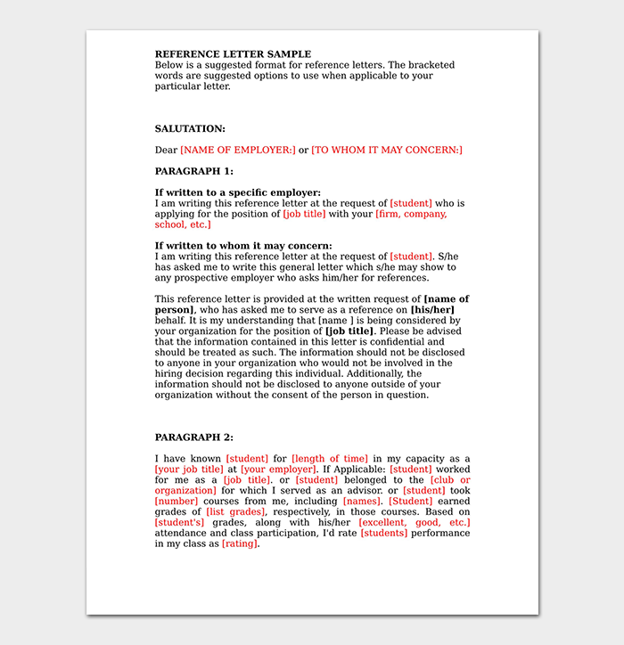 Employer Professional Reference Letter