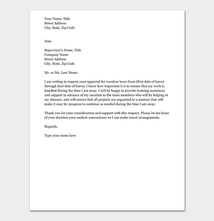vacation leave letter vacation leave request letter how to write with format 25409 | Formal Vacation Request Letter