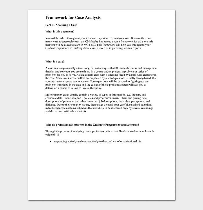 Framework For Case Analysis