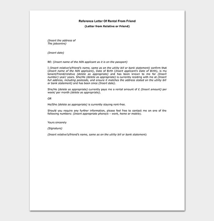 Friend Reference Rental Letter
