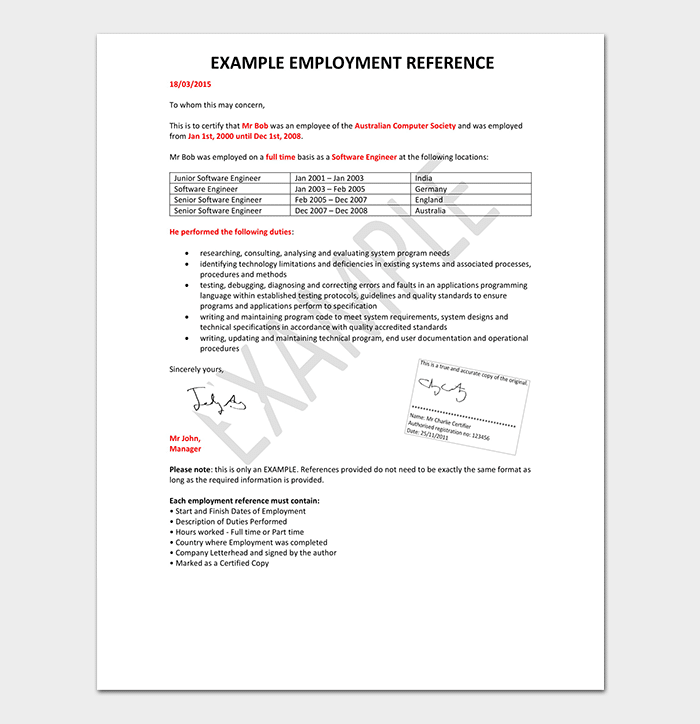 HR Employment Reference Letter