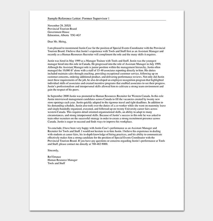 HR Reference Letter Format