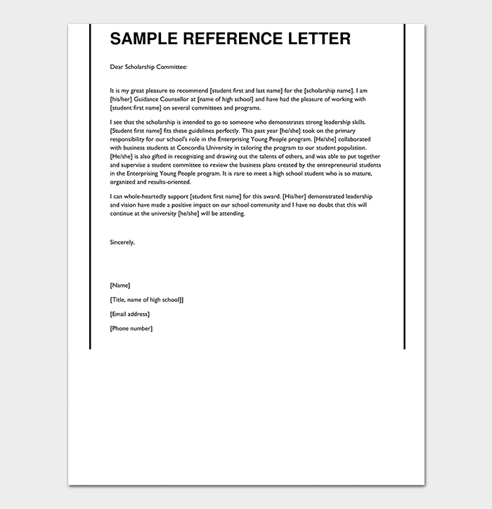 High School Reference Letter