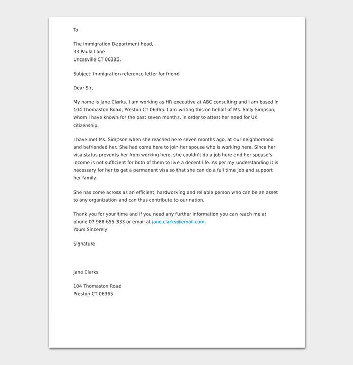Immigration Reference Letter For Friend
