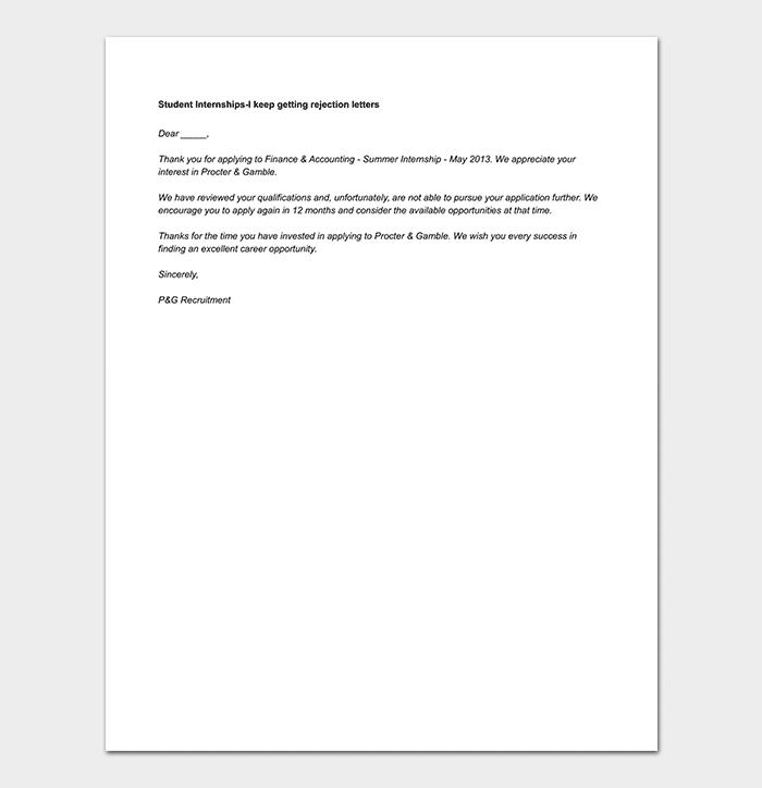 Internship Rejection Letter: 8+ Sample Letters & Format