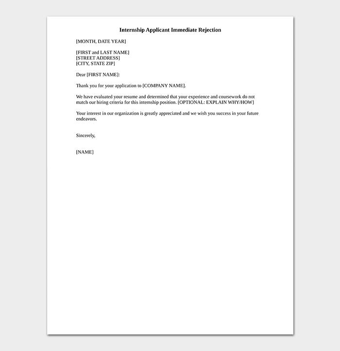 Internship Rejection Letter PDF