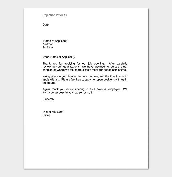Job Applicant Rejection Letter