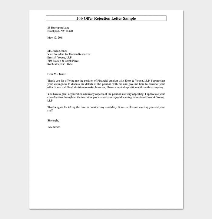 job offer rejection letter sample