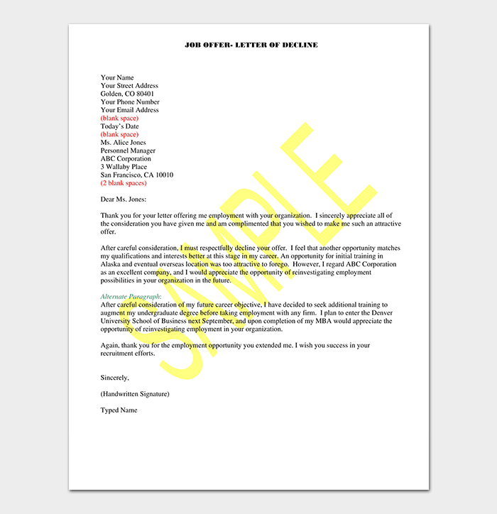 Job Offer Rejection Thank You Letter