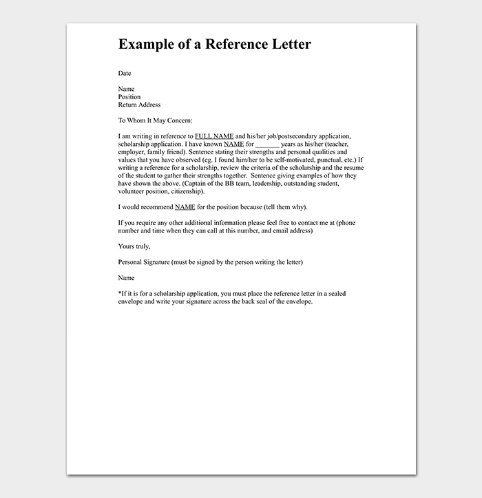 Job Reference Letter for Friend Format