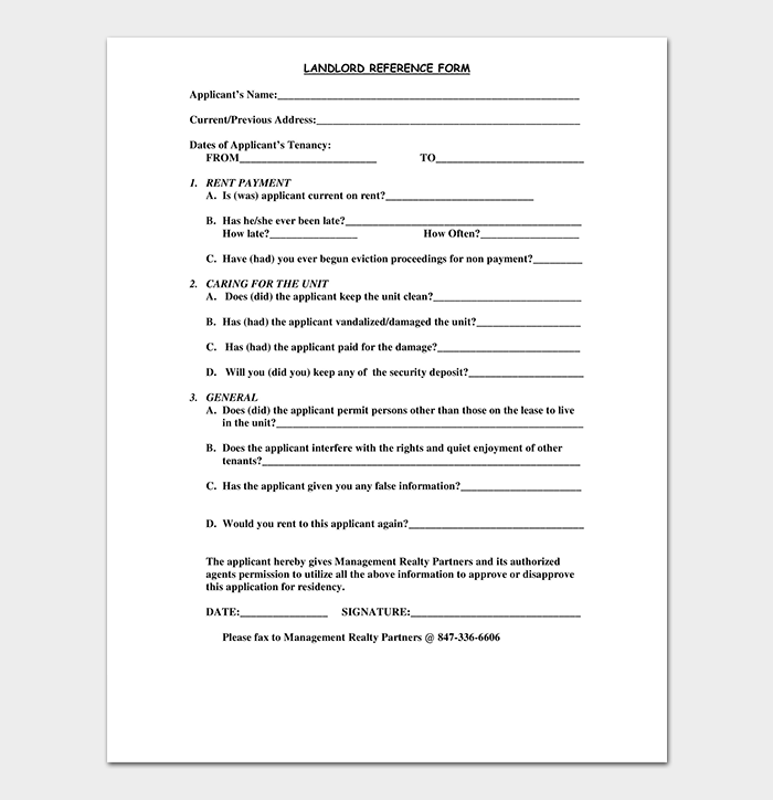 Landlord Reference Form