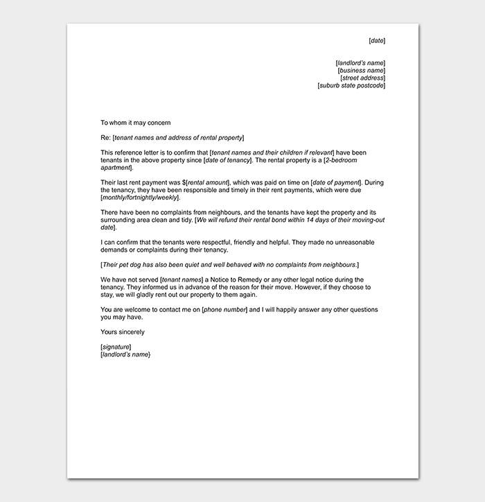 Landlord Reference Letter From Employer
