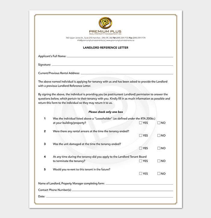 Landlord Reference Letter Sample