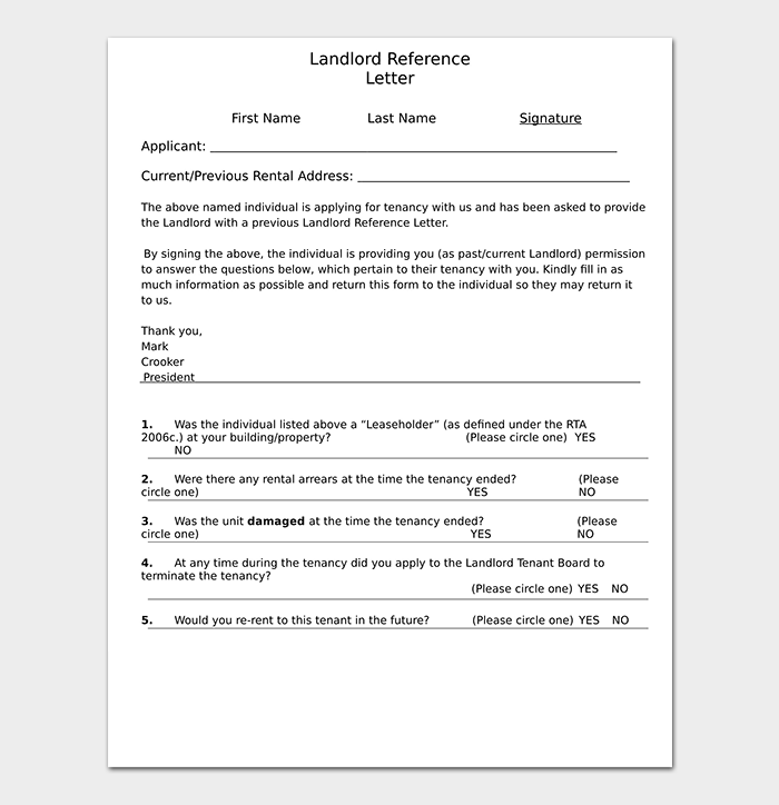 Landlord Reference Letter WORD