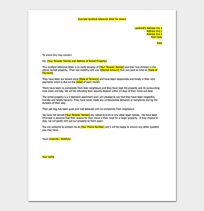 Landlord Reference Letter for Tenant