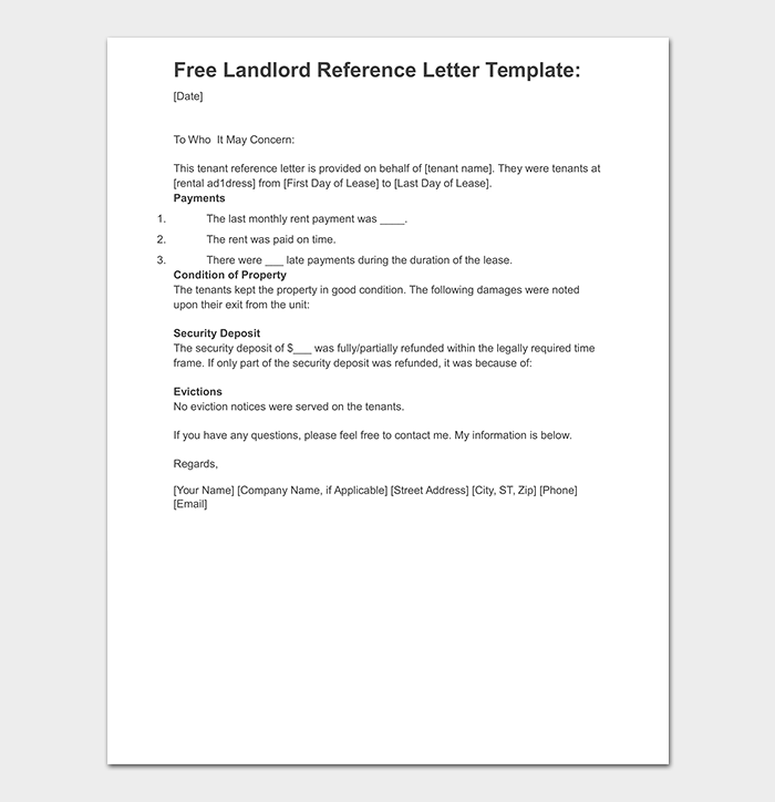 Landlord Reference Letter in WORD