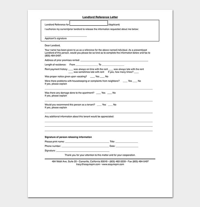 Landlord Work Reference Letter