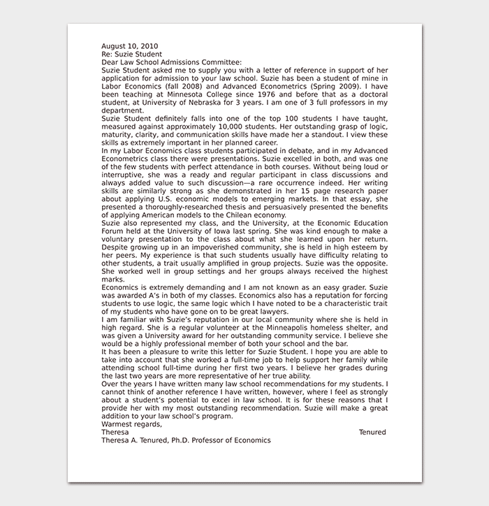 Law School Reference Letter