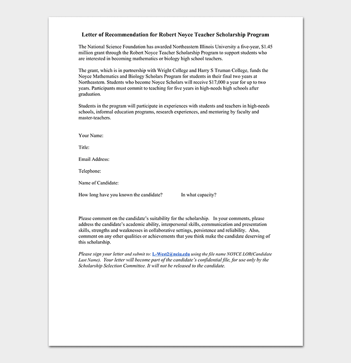 Scholarship Reference / Recommendation Letter - Sample Letters