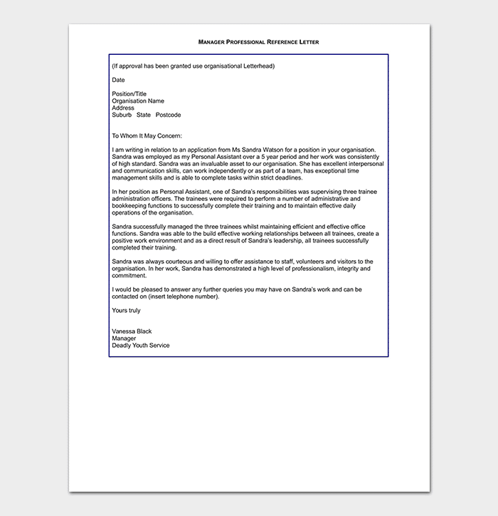 manager reference letter format sample letters