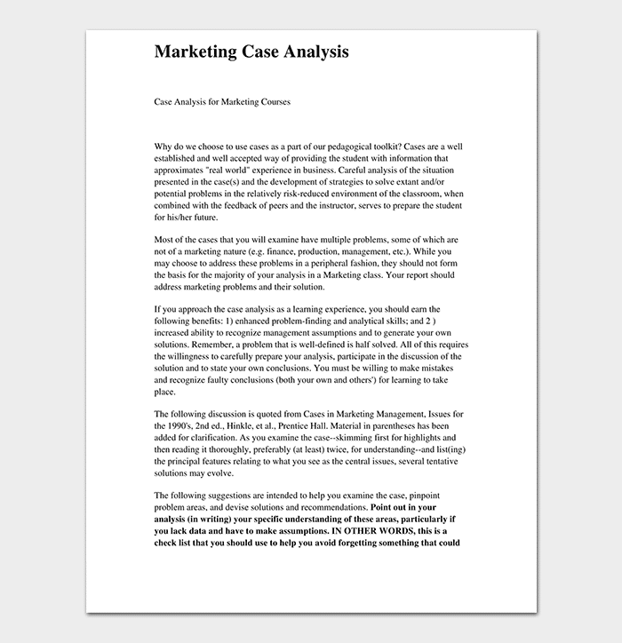 Marketing Case Analysis Template