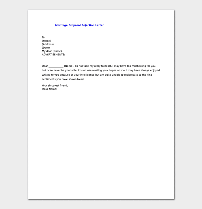 Marriage Proposal Rejection Letter
