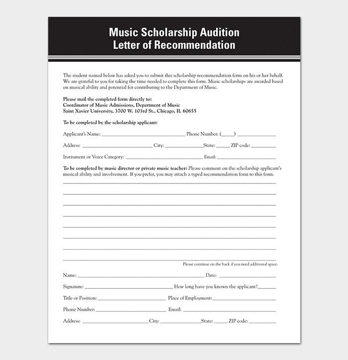 Music Scholarship Audition Letter of Reference