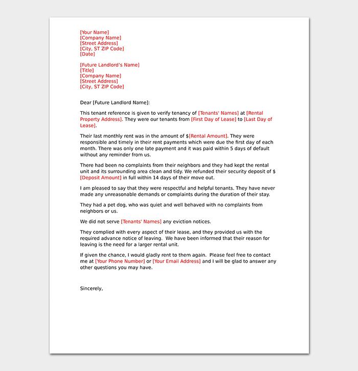 Neighbor Reference Rental Letter