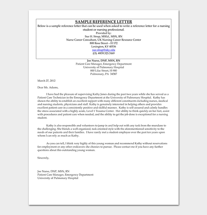Nurse Professional Reference Letter