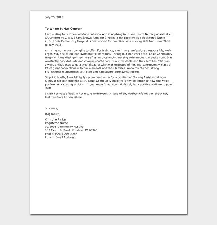 Nursing Assistant Reference Letter