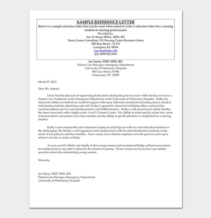 Nursing Employment Reference Letter