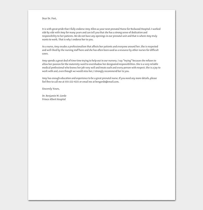 Nursing Job Reference Letter