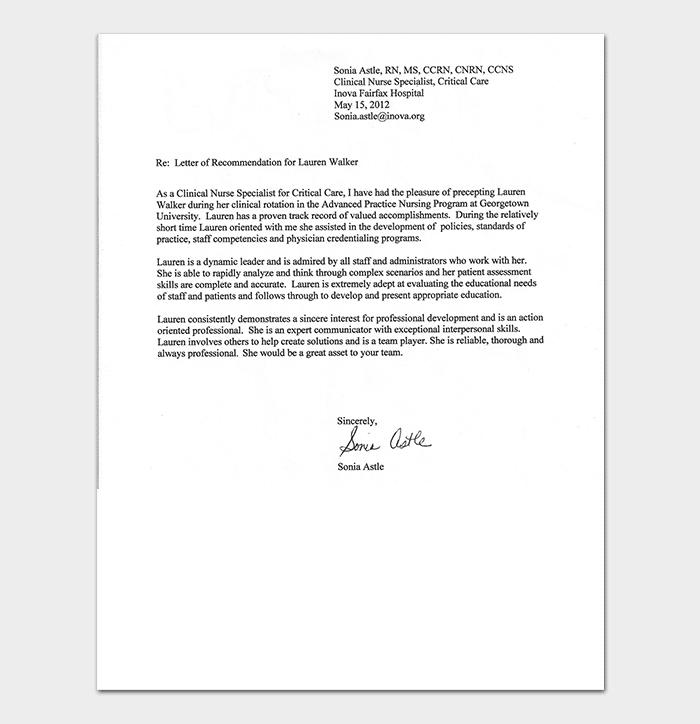 Nursing Reference Letter Format