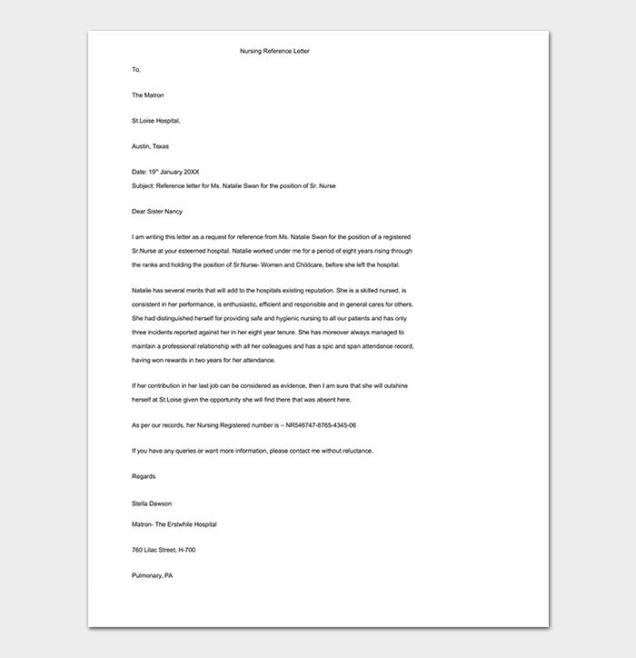 Nursing Reference Letter Word