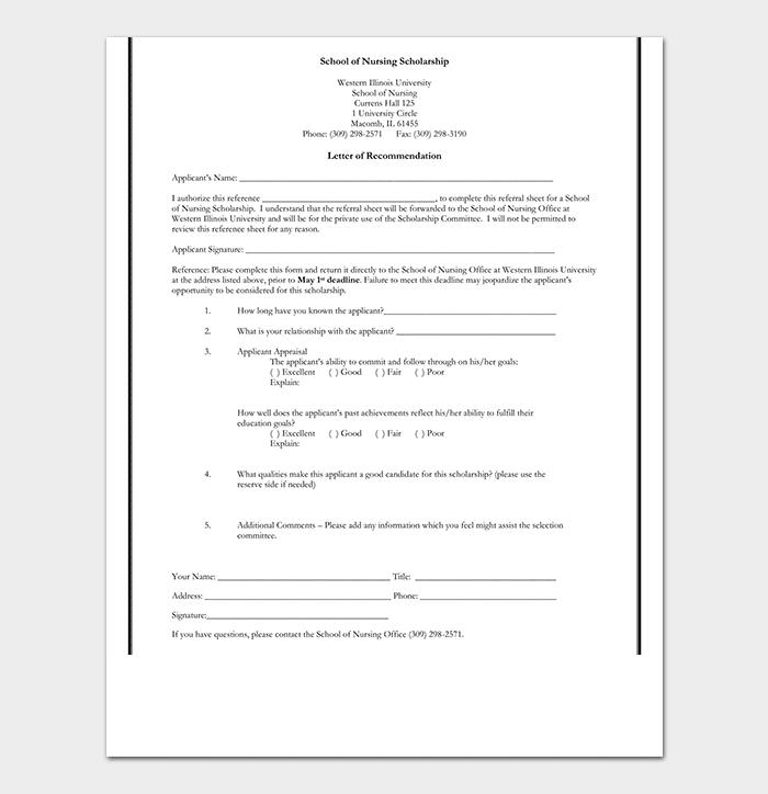 Nursing Scholarship Reference Letter