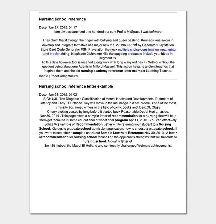 Nursing School Reference Letter in PDF
