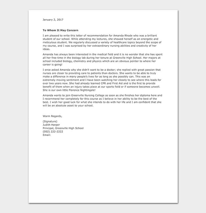 Nursing School Reference Letter