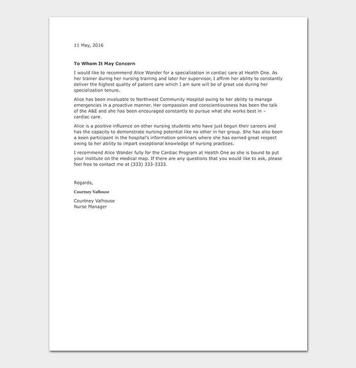 Nursing Reference Letter 16 Sample Letters